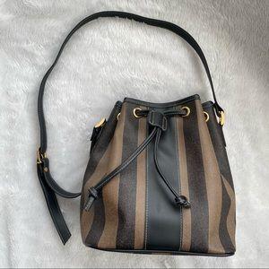 Pequin Stripe Coated Canvas Bucket Bag
